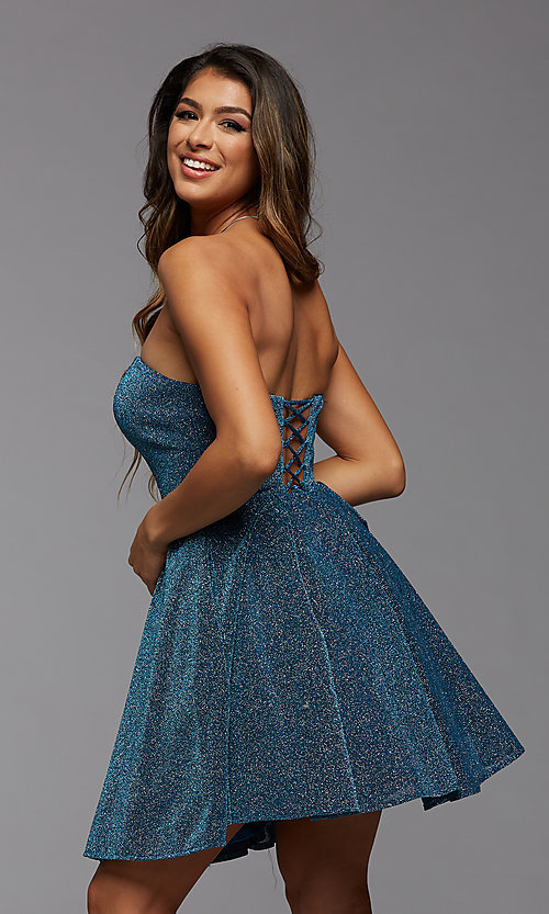 Image of blue glitter strapless short a-line homecoming dress. Style: PG-BHC-21-32 Back Image