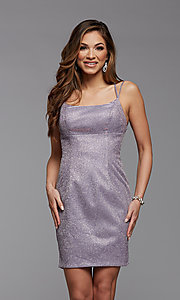 Image of backless glitter short homecoming dance dress. Style: PG-BHC-21-34 Detail Image 1