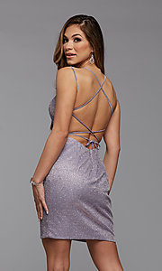 Image of backless glitter short homecoming dance dress. Style: PG-BHC-21-34 Detail Image 2