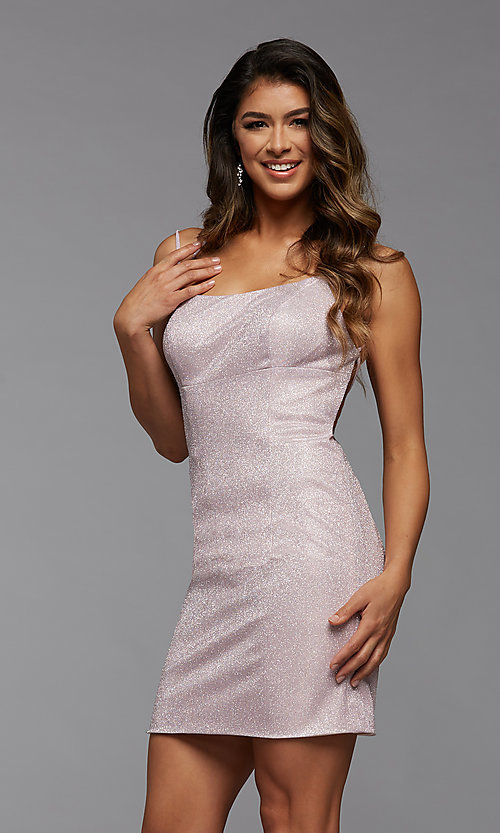 Image of backless glitter short homecoming dance dress. Style: PG-BHC-21-34 Front Image