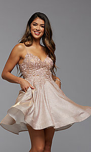 Image of metallic glitter short A-Line homecoming dress. Style: PG-BHC-21-38 Detail Image 1