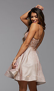 Image of metallic glitter short A-Line homecoming dress. Style: PG-BHC-21-38 Detail Image 2