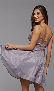Image of metallic glitter short A-Line homecoming dress. Style: PG-BHC-21-38 Back Image