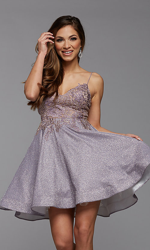 Image of metallic glitter short A-Line homecoming dress. Style: PG-BHC-21-38 Front Image