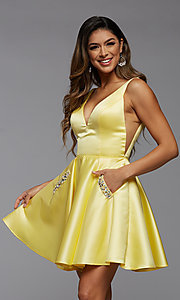 Image of sheer-sides short satin homecoming party dress. Style: PG-FHC-21-03 Detail Image 2