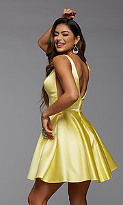 Image of sheer-sides short satin homecoming party dress. Style: PG-FHC-21-03 Detail Image 4
