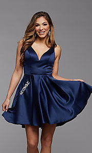 Image of sheer-sides short satin homecoming party dress. Style: PG-FHC-21-03 Front Image