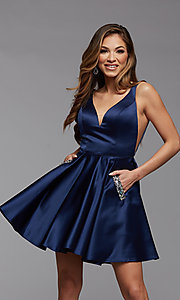 Image of sheer-sides short satin homecoming party dress. Style: PG-FHC-21-03 Detail Image 1