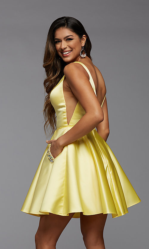 Image of sheer-sides short satin homecoming party dress. Style: PG-FHC-21-03 Detail Image 3
