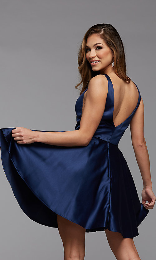 Image of sheer-sides short satin homecoming party dress. Style: PG-FHC-21-03 Back Image