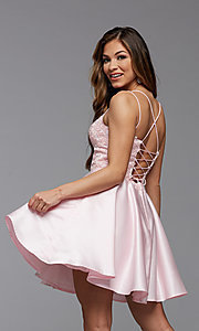 Image of lace-bodice short homecoming party dress. Style: PG-FHC-21-09 Detail Image 3