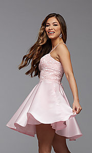 Image of lace-bodice short homecoming party dress. Style: PG-FHC-21-09 Detail Image 2