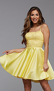 Image of lace-bodice short homecoming party dress. Style: PG-FHC-21-09 Front Image