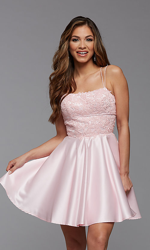 Image of lace-bodice short homecoming party dress. Style: PG-FHC-21-09 Detail Image 1