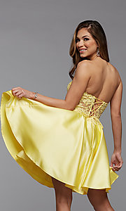 Image of satin and lace short strapless homecoming dress. Style: PG-FHC-21-10 Back Image