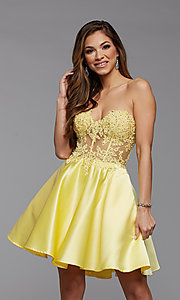Image of satin and lace short strapless homecoming dress. Style: PG-FHC-21-10 Detail Image 1