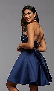 Image of satin and lace short strapless homecoming dress. Style: PG-FHC-21-10 Detail Image 3