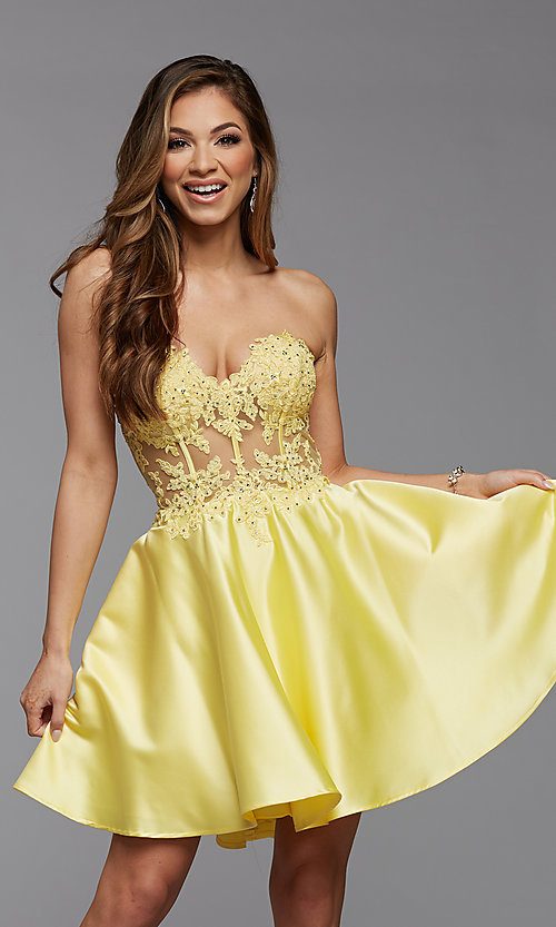 Image of satin and lace short strapless homecoming dress. Style: PG-FHC-21-10 Front Image
