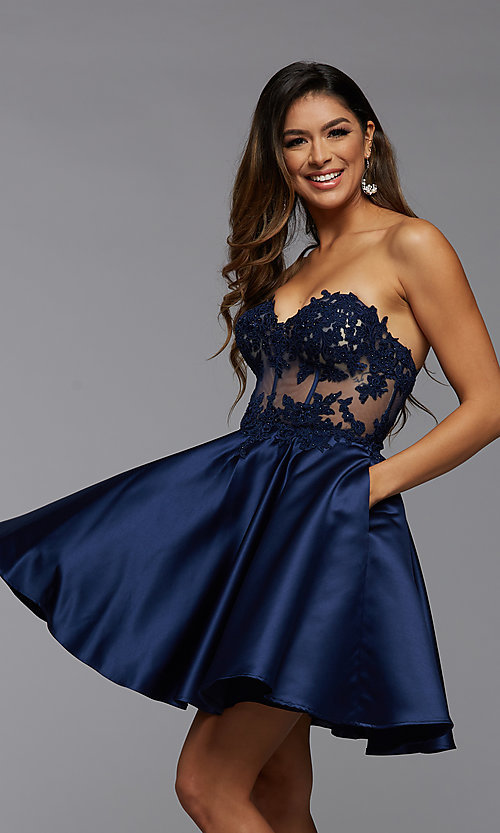 Image of satin and lace short strapless homecoming dress. Style: PG-FHC-21-10 Detail Image 2