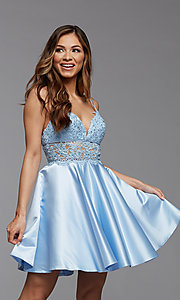 Image of sheer-waist short homecoming dress with pockets. Style: PG-FHC-21-11 Front Image
