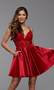 Image of sheer-waist short homecoming dress with pockets. Style: PG-FHC-21-11 Detail Image 2