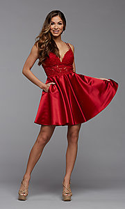 Image of sheer-waist short homecoming dress with pockets. Style: PG-FHC-21-11 Detail Image 4