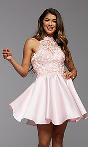 Image of lace-bodice high-neck short homecoming party dress. Style: PG-FHC-21-12 Front Image