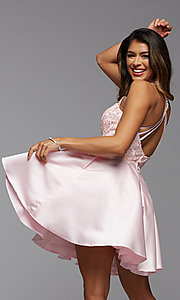Image of lace-bodice high-neck short homecoming party dress. Style: PG-FHC-21-12 Back Image
