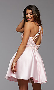 Image of lace-bodice high-neck short homecoming party dress. Style: PG-FHC-21-12 Detail Image 1