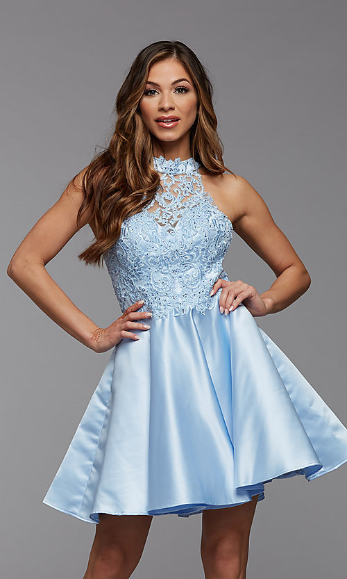 Image of lace-bodice high-neck short homecoming party dress. Style: PG-FHC-21-12 Detail Image 2