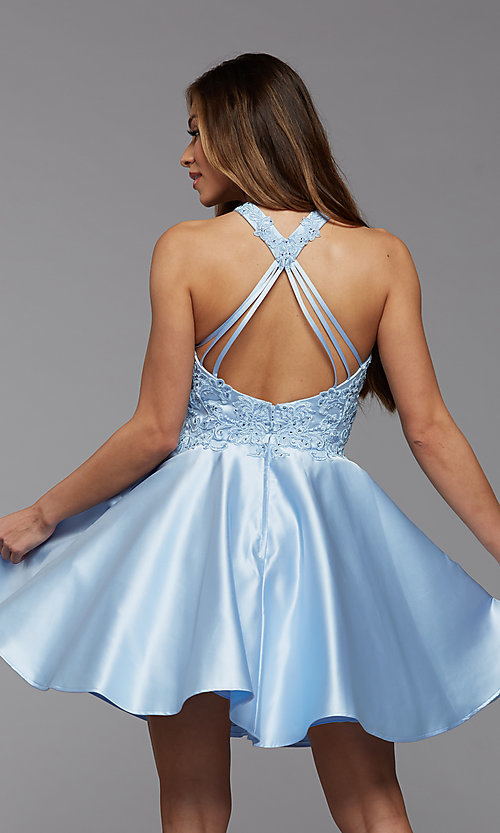 Image of lace-bodice high-neck short homecoming party dress. Style: PG-FHC-21-12 Detail Image 3