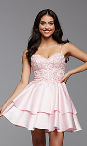 Image of corset-back short tiered homecoming party dress. Style: PG-FHC-21-13 Front Image