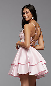 Image of corset-back short tiered homecoming party dress. Style: PG-FHC-21-13 Back Image