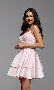 Image of corset-back short tiered homecoming party dress. Style: PG-FHC-21-13 Detail Image 1