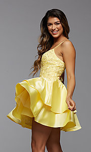 Image of corset-back short tiered homecoming party dress. Style: PG-FHC-21-13 Detail Image 2