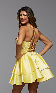 Image of corset-back short tiered homecoming party dress. Style: PG-FHC-21-13 Detail Image 3