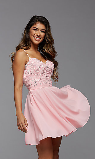 A-Line Short Homecoming Dance Dresses with Beading