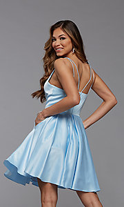 Image of cute short fit-and-flare homecoming dance dress. Style: PG-THC-21-48 Back Image