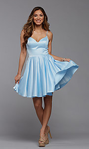 Image of cute short fit-and-flare homecoming dance dress. Style: PG-THC-21-48 Detail Image 1