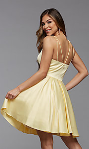 Image of cute short fit-and-flare homecoming dance dress. Style: PG-THC-21-48 Detail Image 3