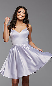 Image of cute short fit-and-flare homecoming dance dress. Style: PG-THC-21-48 Detail Image 4
