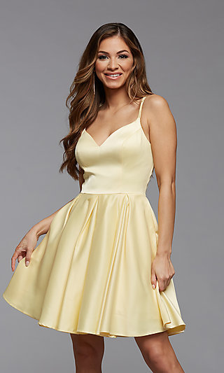 Cute Short Fit-and-Flare Homecoming Dance Dress