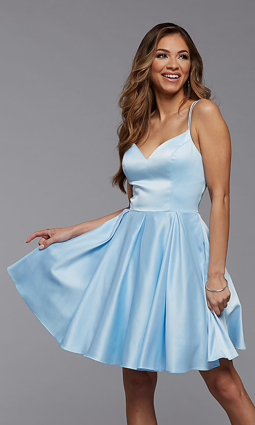 Image of cute short fit-and-flare homecoming dance dress. Style: PG-THC-21-48 Front Image