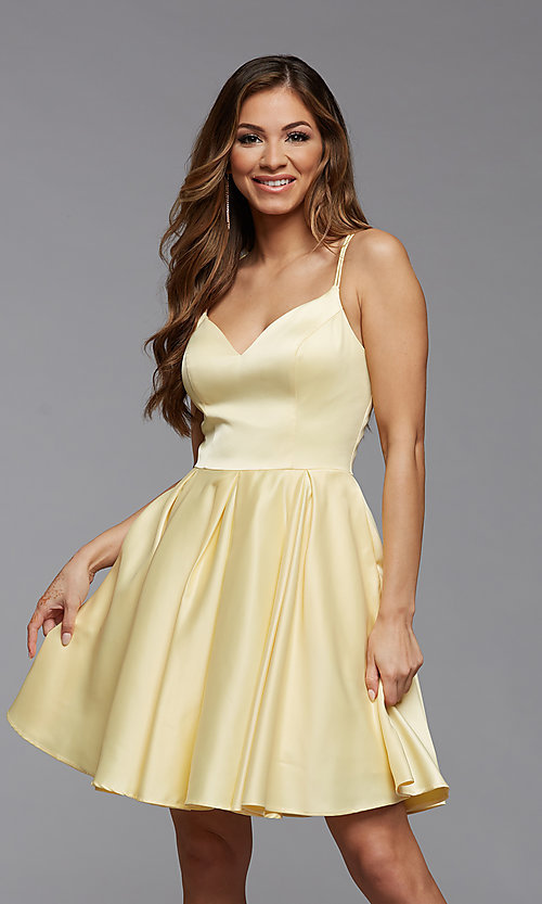 Image of cute short fit-and-flare homecoming dance dress. Style: PG-THC-21-48 Detail Image 2
