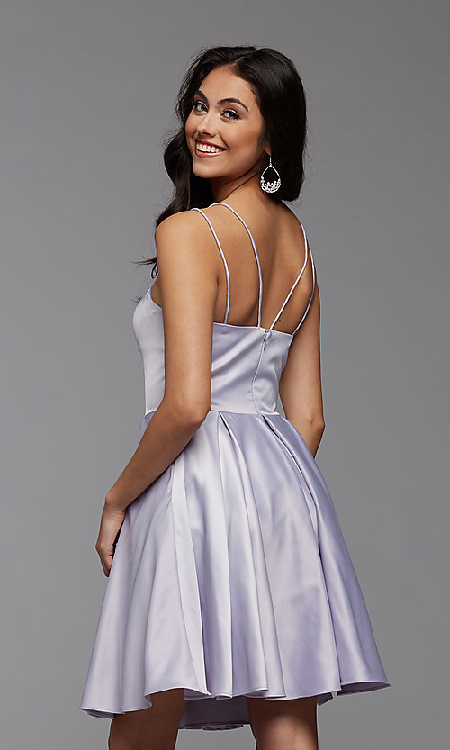 Image of cute short fit-and-flare homecoming dance dress. Style: PG-THC-21-48 Detail Image 5