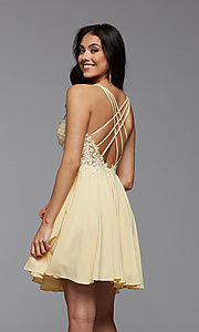 Image of short chiffon and lace homecoming party dress. Style: PG-FHC-21-16 Detail Image 3