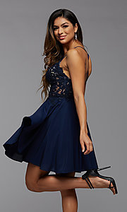 Image of short chiffon and lace homecoming party dress. Style: PG-FHC-21-16 Detail Image 1