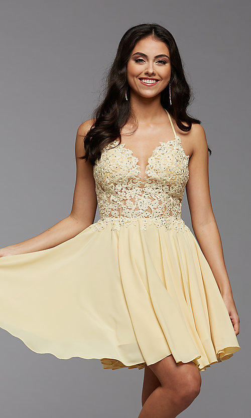 Image of short chiffon and lace homecoming party dress. Style: PG-FHC-21-16 Detail Image 2