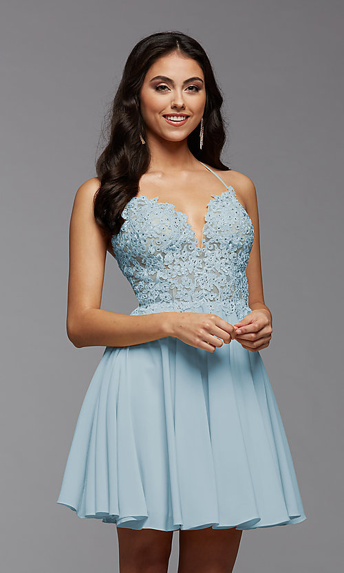 Image of short chiffon and lace homecoming party dress. Style: PG-FHC-21-16 Detail Image 4