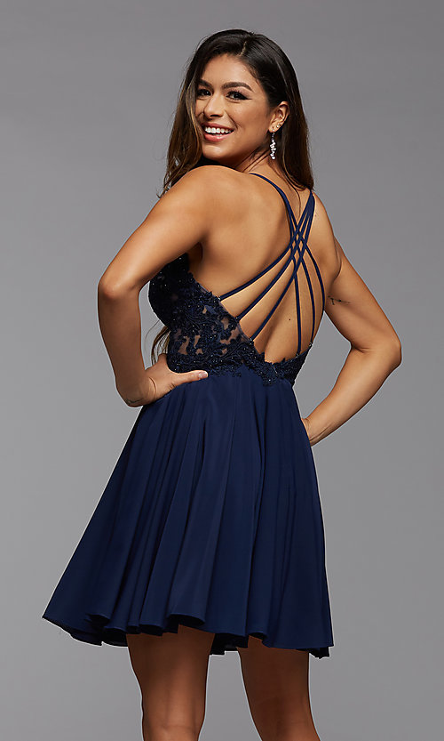 Image of short chiffon and lace homecoming party dress. Style: PG-FHC-21-16 Back Image
